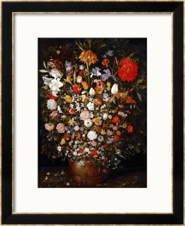 Big Flower Bouquet in a Wooden Vessel Framed Giclee Print by Jan Brueghel the Elder