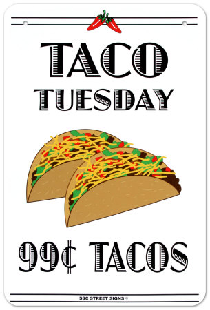 Taco Tuesday Placa de lata