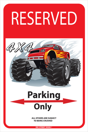 Reserved 4 x4 Parking Only Tin Sign