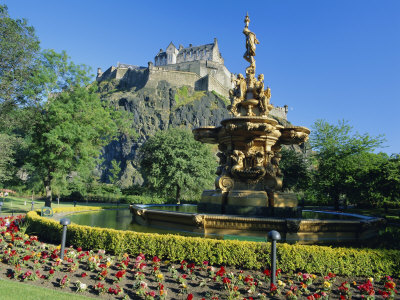 The Castle from Princes Street Gardens, Edinburgh, Lothian, Scotland, UK, Europe Photographic Print by Kathy Collins