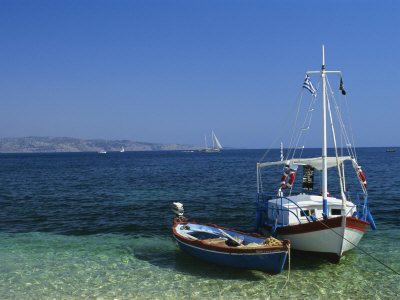 Greek Boats, Kalami Bay, Corfu, Ionian Islands, Greece, Europe Photographic Print by Kathy Collins