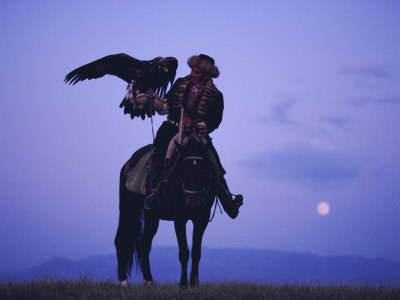 Kalanash Sarsembek with Eagle, a Hunter's Moonrise Over Steppe, Kazakhstan, Central Asia Photographic Print by David Beatty