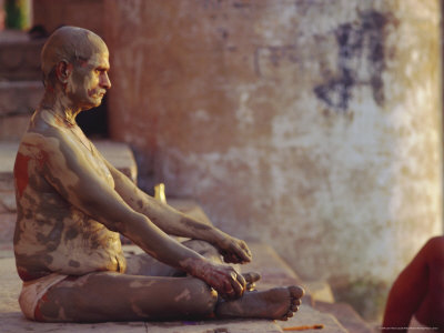 Hindu Pilgrim Meditating, Sitting Cross-Legged on the Ghats, Varanasi, Uttar Pradesh State, India Photographic Print by John Henry Claude Wilson