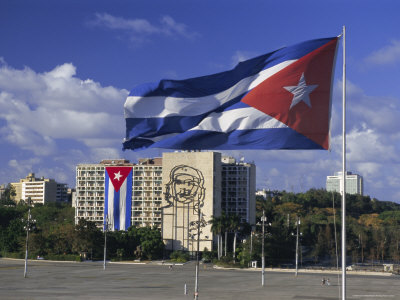 Cuban Flag Flying Outside the Ministerio Del Interior, Cuba, West Indies Photographic Print by Gavin Hellier