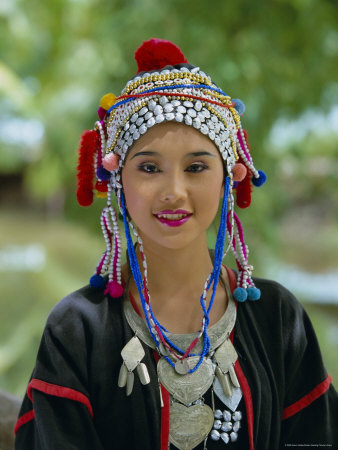 Portrait of an Akha Hill Tribe Woman in Traditional Clothing, Mae Hong Son Province Photographic Print by Gavin Hellier