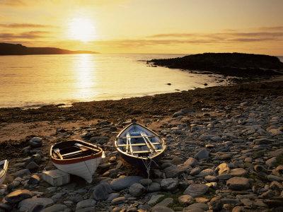 Boats on Norwick Beach at Sunrise, Unst, Shetland Islands, Scotland, United Kingdom, Europe Photographic Print by Patrick Dieudonne