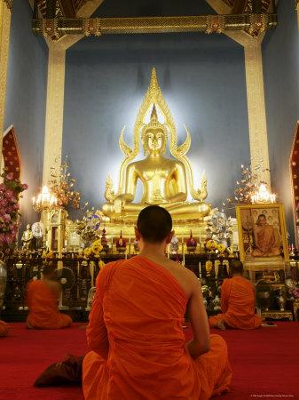 Buddhist Monk Praying, Wat Benchamabophit (Marble Temple), Bangkok, Thailand, Southeast Asia, Asia Photographic Print by Angelo Cavalli