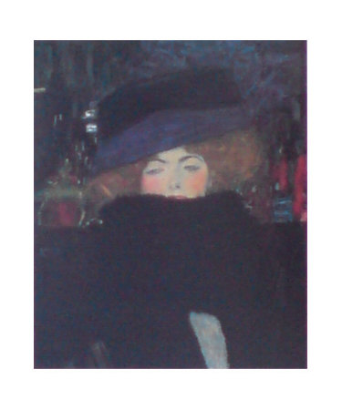 Lady with Hat & Feather Boa Kunstdruck