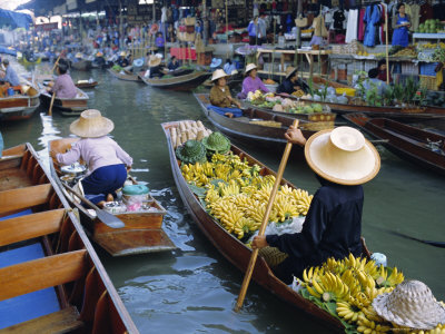 Floating Market, Damnoen Saduak, Near Bangkok, Thailand, Asia Photographic Print by Bruno Morandi