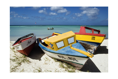 Three Fishing Boats Aruba Photographic Print by George Oze