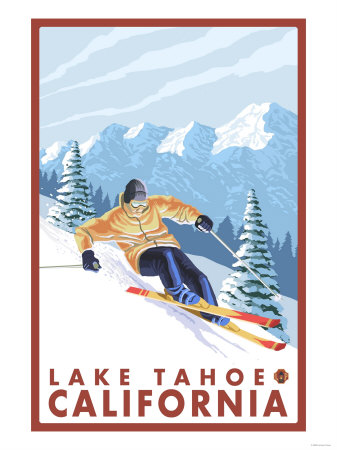 Downhhill Snow Skier, Lake Tahoe, California Prints by  Lantern Press