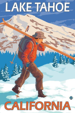 Skier Carrying Snow Skis, Lake Tahoe, California Prints by  Lantern Press