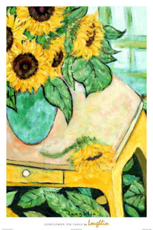 Sunflowers on Table Prints by  Loughlin