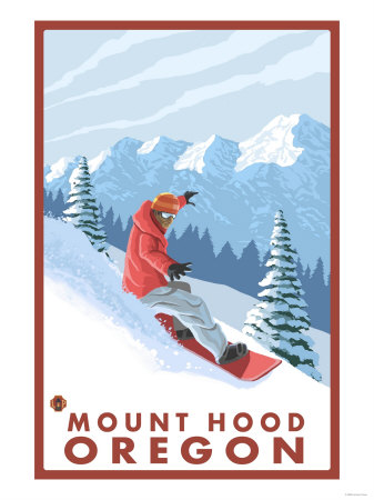 Snowboarder Scene, Mount Hood, Oregon Konsttryck
