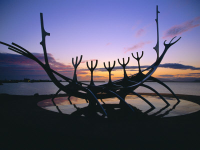 Seaside Monument at Sunset, Reykjavik, Iceland Photographic Print