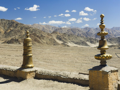 Indus Valley and Ladakh Range Seen from Tikse Gompa, Tikse, Ladakh, Indian Himalayas, India Photographic Print by Jochen Schlenker
