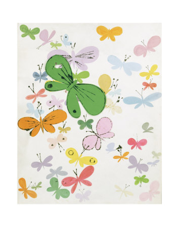 Butterflies, c.1955 (big green in middle) Konsttryck