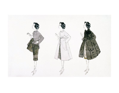 Three Female Fashion Figures, c.1959 Kunsttryk