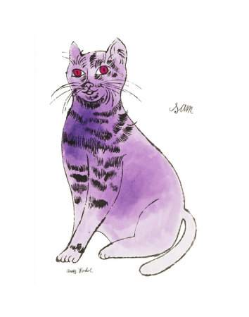 25 Cats Named Sam and One Blue Pussy by Andy Warhol, c.1954 (Purple Sam) Umělecká reprodukce
