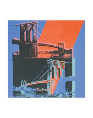 Brooklyn Bridge, c.1983 (pink, red, blue) Art Print