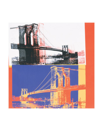 Brooklyn Bridge, c.1983 (black bridge/white background) Art Print