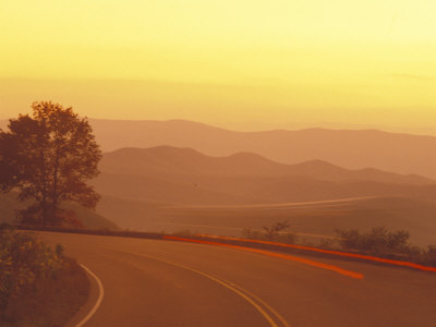 Carlights at Dusk on Skyline Drive in Shenandoah National Park Photographic Print by Richard Nowitz