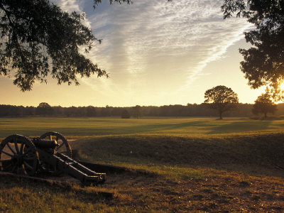 Cannons on the Battlefield at the Visitors' Center at Colonial Yorktown, Virginia Photographic Print by Richard Nowitz