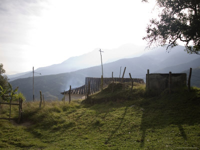 Andean Sunrise Lights Rural Home and Rising Kitchen Smoke Photographic Print by David Evans