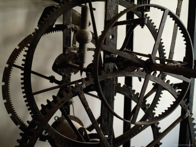 Close View of the Large Gears of an Old Clock, Venice, Italy Photographic Print by Todd Gipstein