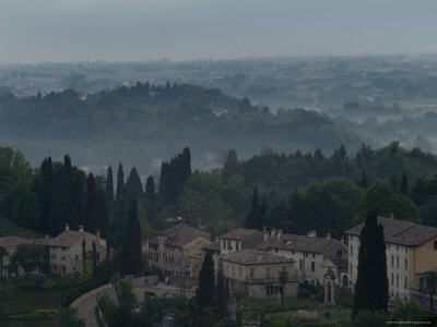 Aerial View of an Italian Hilltown with Fog in the Distance, Asolo, Italy Photographic Print by Todd Gipstein