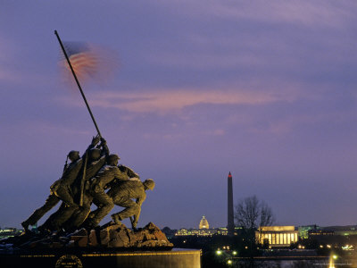 Iwo Jima Monument and Skyline of D.C. at Night, Washington, D.C. Photographic Print by Kenneth Garrett