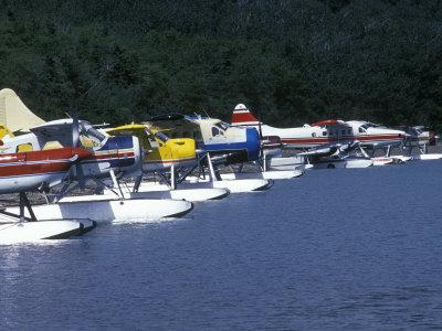 Floatplanes on Naknek Lake for Bear Viewing at Katmai National Park, Alaska Fotografisk tryk af Rich Reid