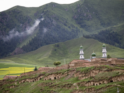 Islamic Village and Mosque Beneath Tree Covered Mountains, Qinghai, China Photographic Print by David Evans
