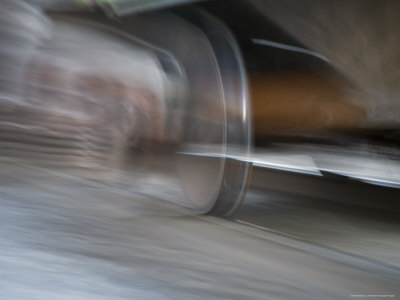 Heavy Train Wheel Grips the Track in a Blur of Speed, Silver Spring, Maryland Photographic Print by Stephen St. John