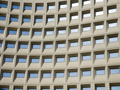 Geometric Grid of Windows Reflects the Sky Photographic Print by Stephen St. John
