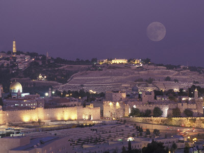 Moon over the Dome of the Rock and Mount Olives in Jerusalem, Israel Photographic Print by Richard Nowitz