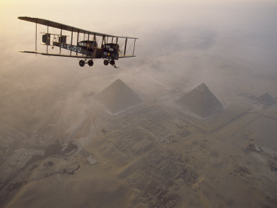 In the Light of Early Morning, The Vimy Circles the Pyramids at Giza on a Dawn Tour, Egypt Photographic Print by James L. Stanfield