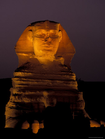 Sphinx at Night in Giza, Egypt Photographic Print by Richard Nowitz