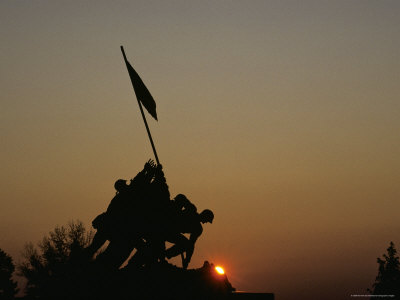 The Iwo Jima Memorial Silhouetted by a Setting Sun, Washington, D.C. Photographic Print by Kenneth Garrett