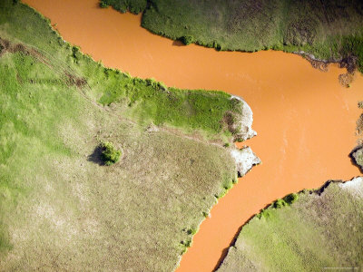 The Red Tana River Makes its Way to the Sea Through the Coast Province, Kenya Photographic Print by Michael Fay
