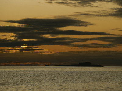 Silhouetted Russian Submarine in the White Sea Photographic Print