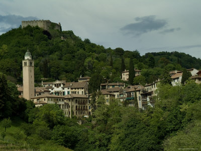 The Rocca Perched on Mount Ricco above the City of Asolo, Italy Photographic Print by Todd Gipstein