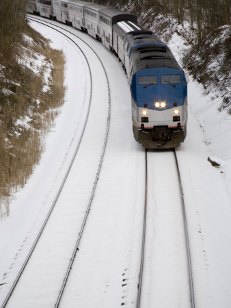 Train Cuts Across Fresh Snow Photographic Print by Stephen St. John