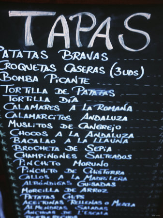 Tapas Menu on Blackboard in a Bar Photographic Print