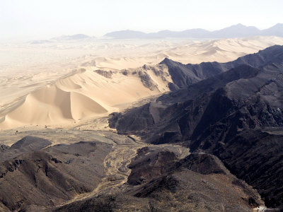 Volcanoes Meets Spectacular Sand Dunes in the Air Mountains, Niger Photographic Print by Michael Fay