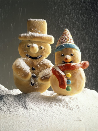 Christmas Cookies in the Shape of Snowmen Photographic Print