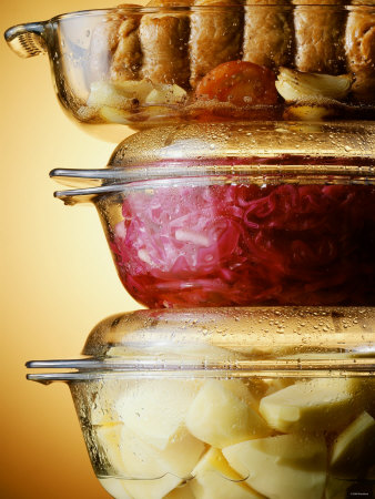 Potatoes, Red Cabbage & Meat in Glass Pots Photographic Print by Wolfgang Usbeck