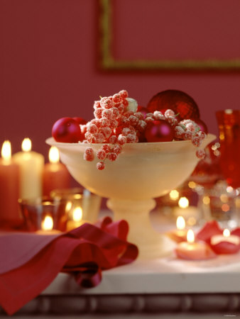 Glass Bowl of Berries & Xmas Baubles as Table Decoration Photographic Print by Luzia Ellert
