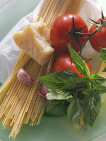 Still Life with Spaghetti, Tomatoes, Basil & Parmesan Photographic Print