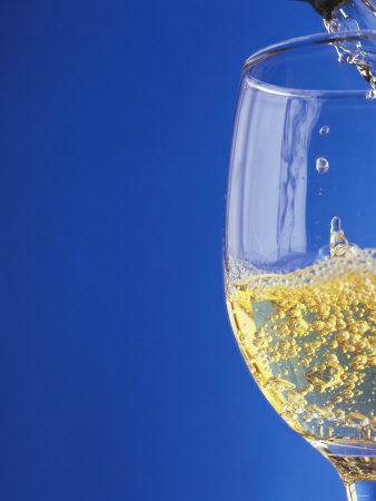 Sparkling Wine Effervescing as It is Poured into a Glass Photographic Print by Steven Morris